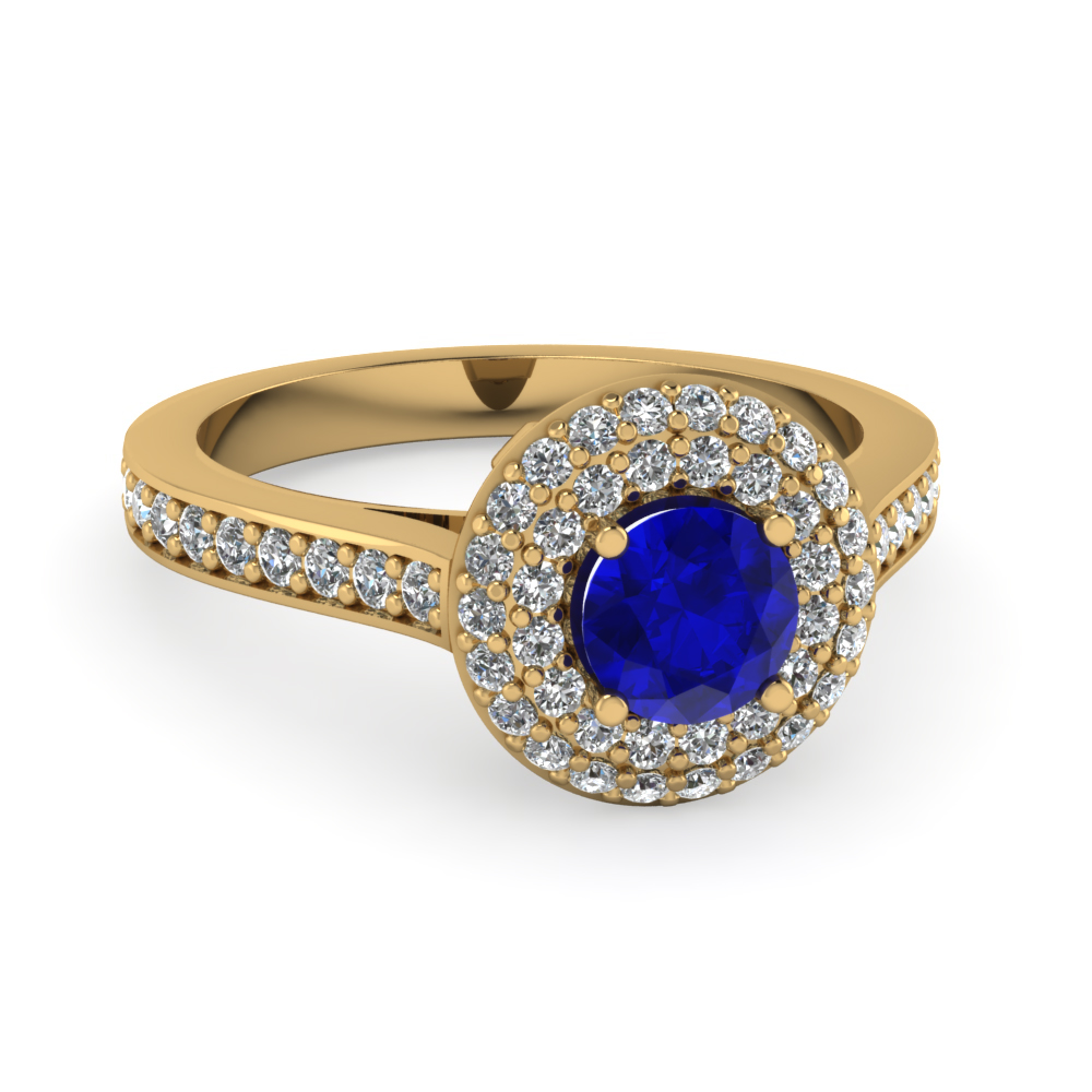 Round Cut Halo Diamond Ring With Blue Sapphire Gemstone In 14K Yellow Gold
