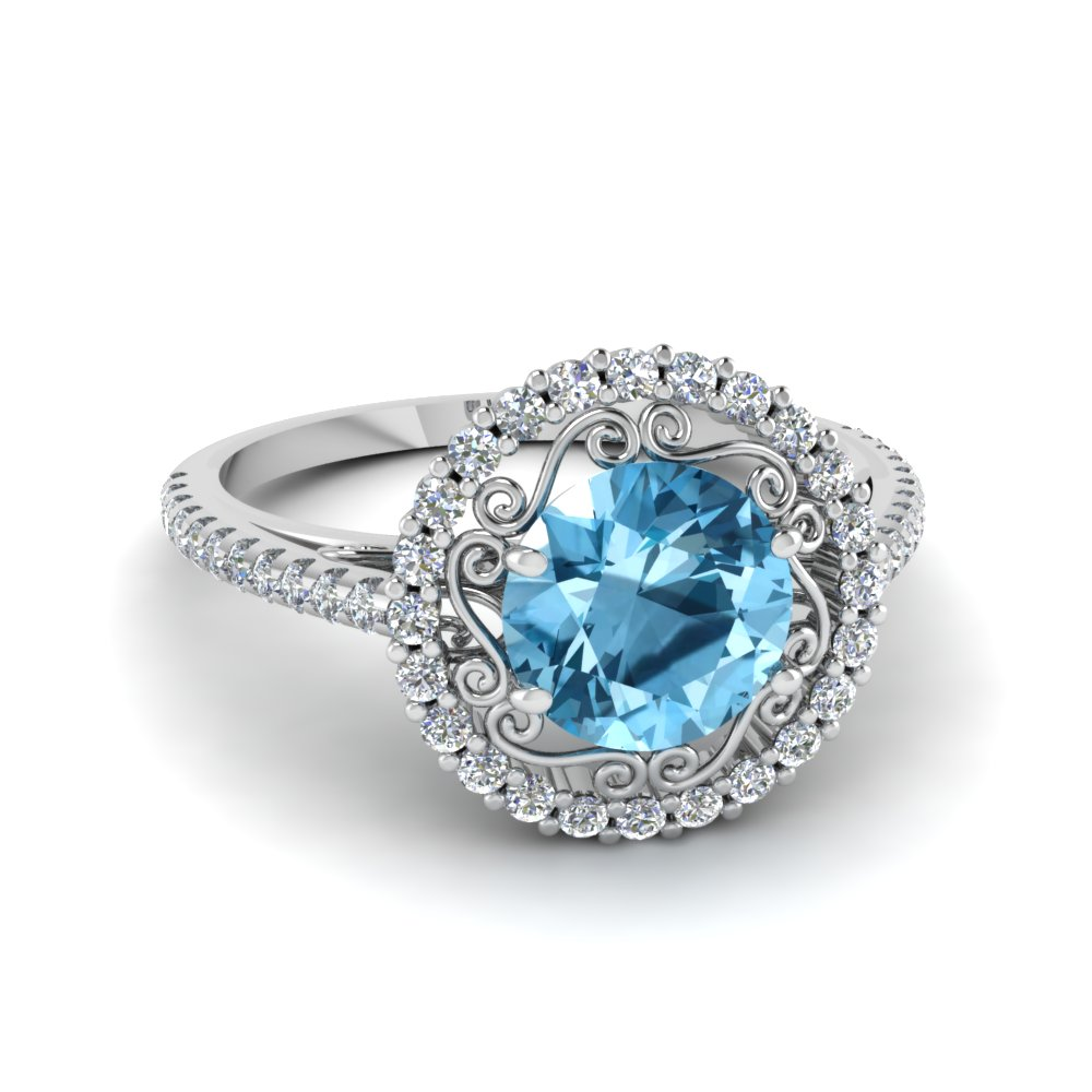 round cut halo diamond ring with ice blue topaz in FD68924RORGICBLTO NL WG