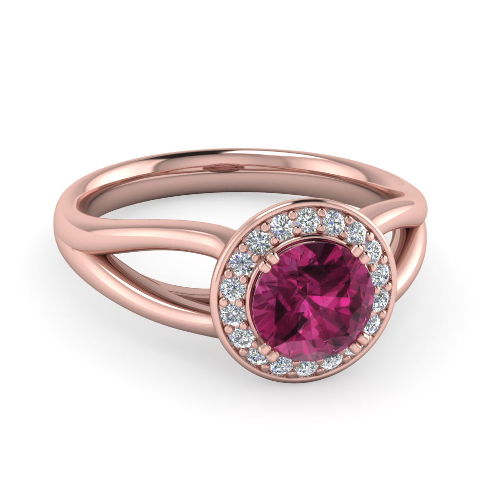 Pink Sapphire Split Engagement Ring