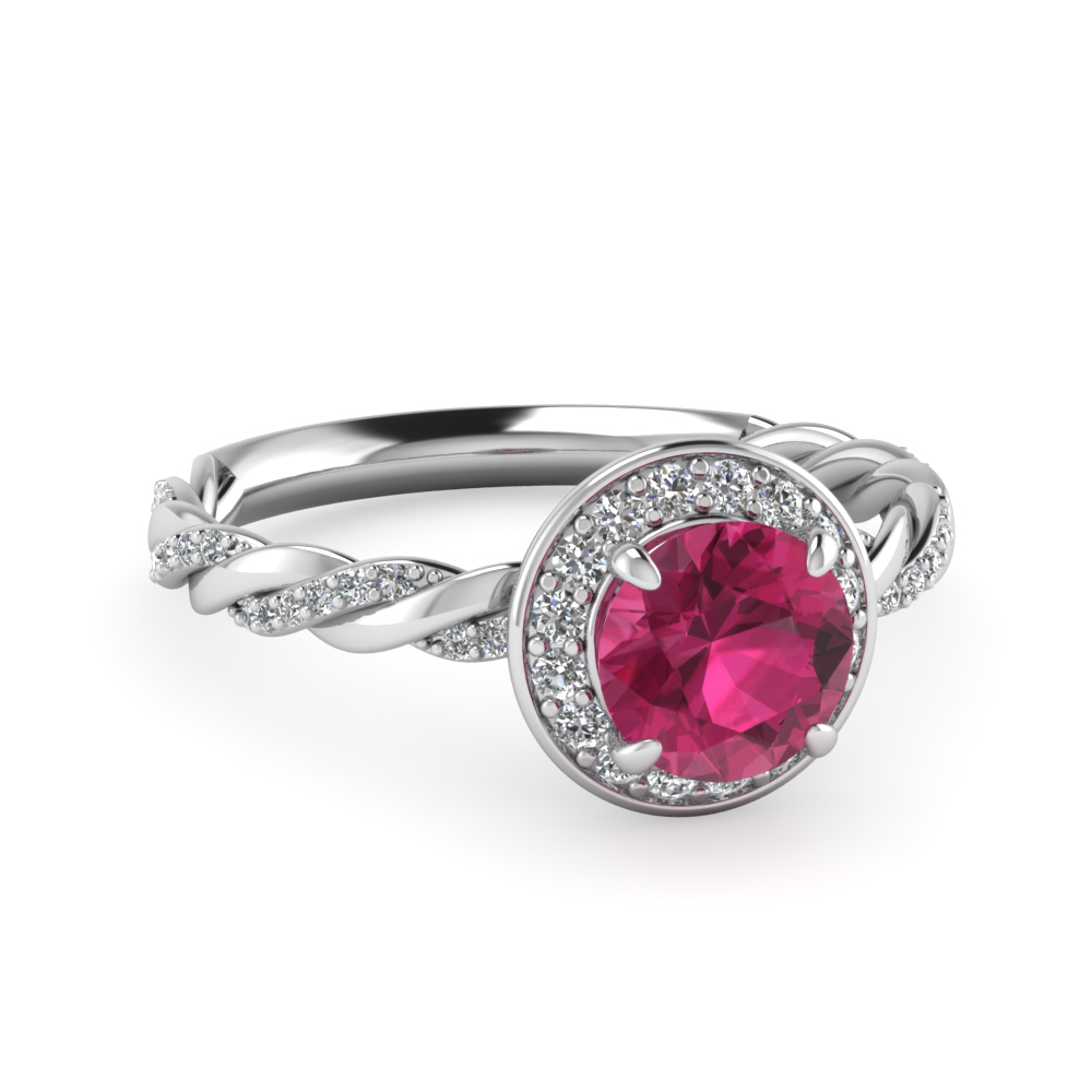 Halo Pink Sapphire Engagement Ring