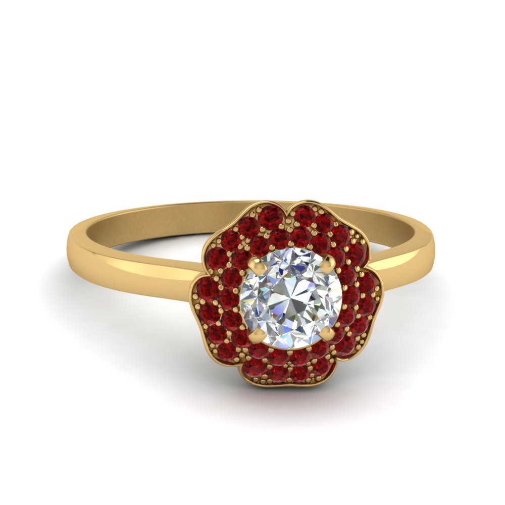 Round Cut Halo Ruby Ring