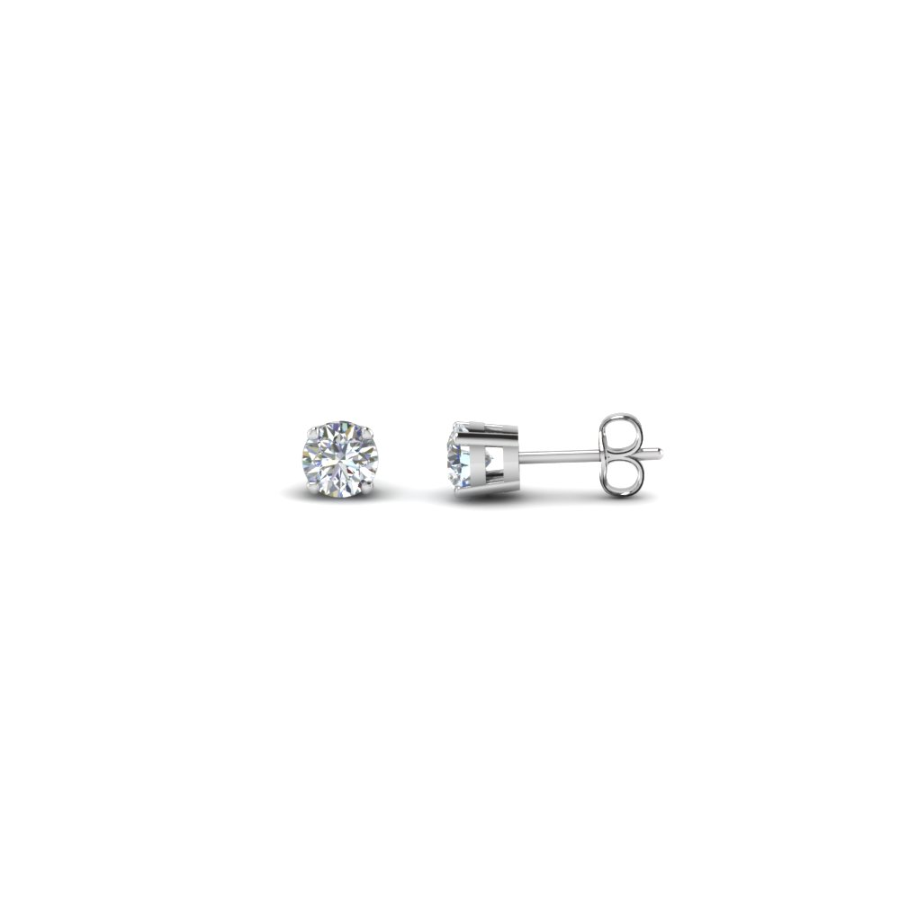 round cut handmade 0.20 carat diamond stud earring jewelry in sterling silver FDEAR4RO20CT NL WG