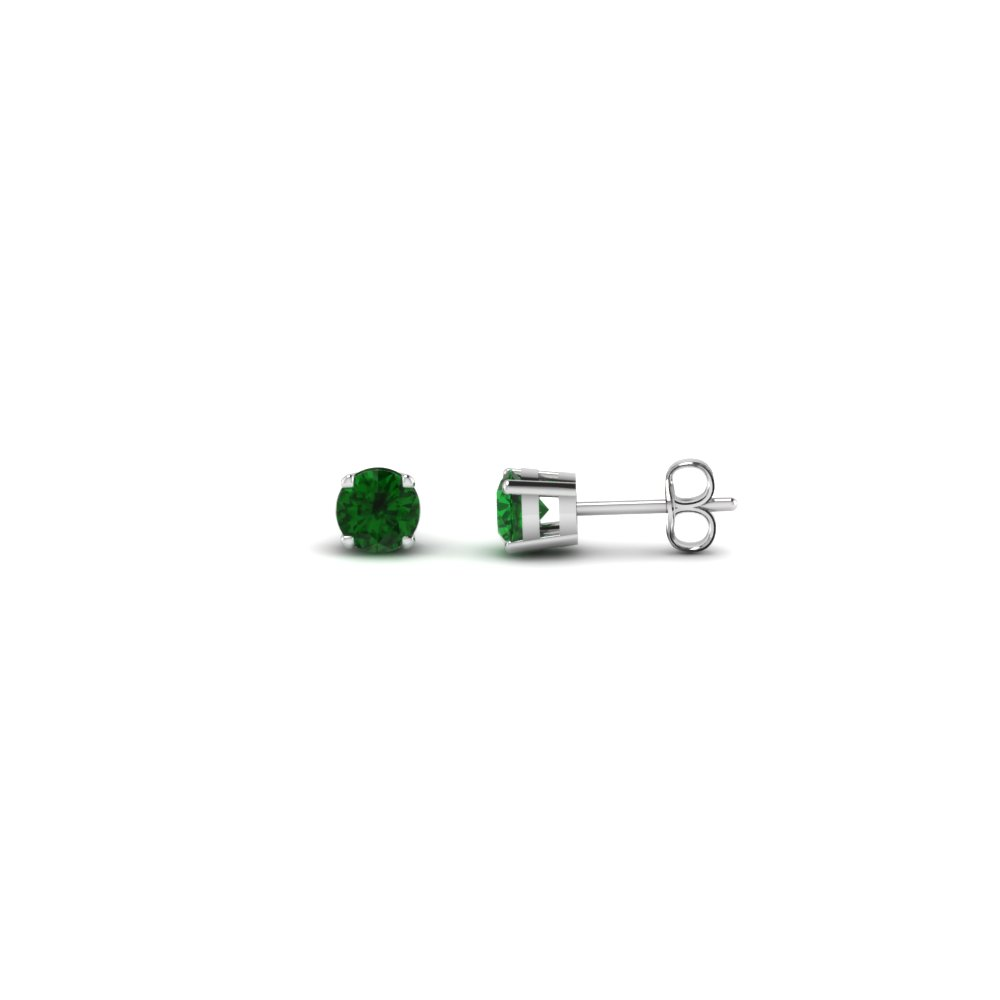 round cut handmade 0.20 carat diamond stud earring jewelry with emerald in sterling silver FDEAR4ROGEMGR20CT NL WG