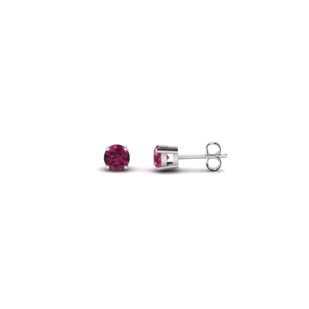 1017aa7d1 ... round cut handmade 0.20 carat diamond stud earring jewelry with pink  sapphire in 14K white gold