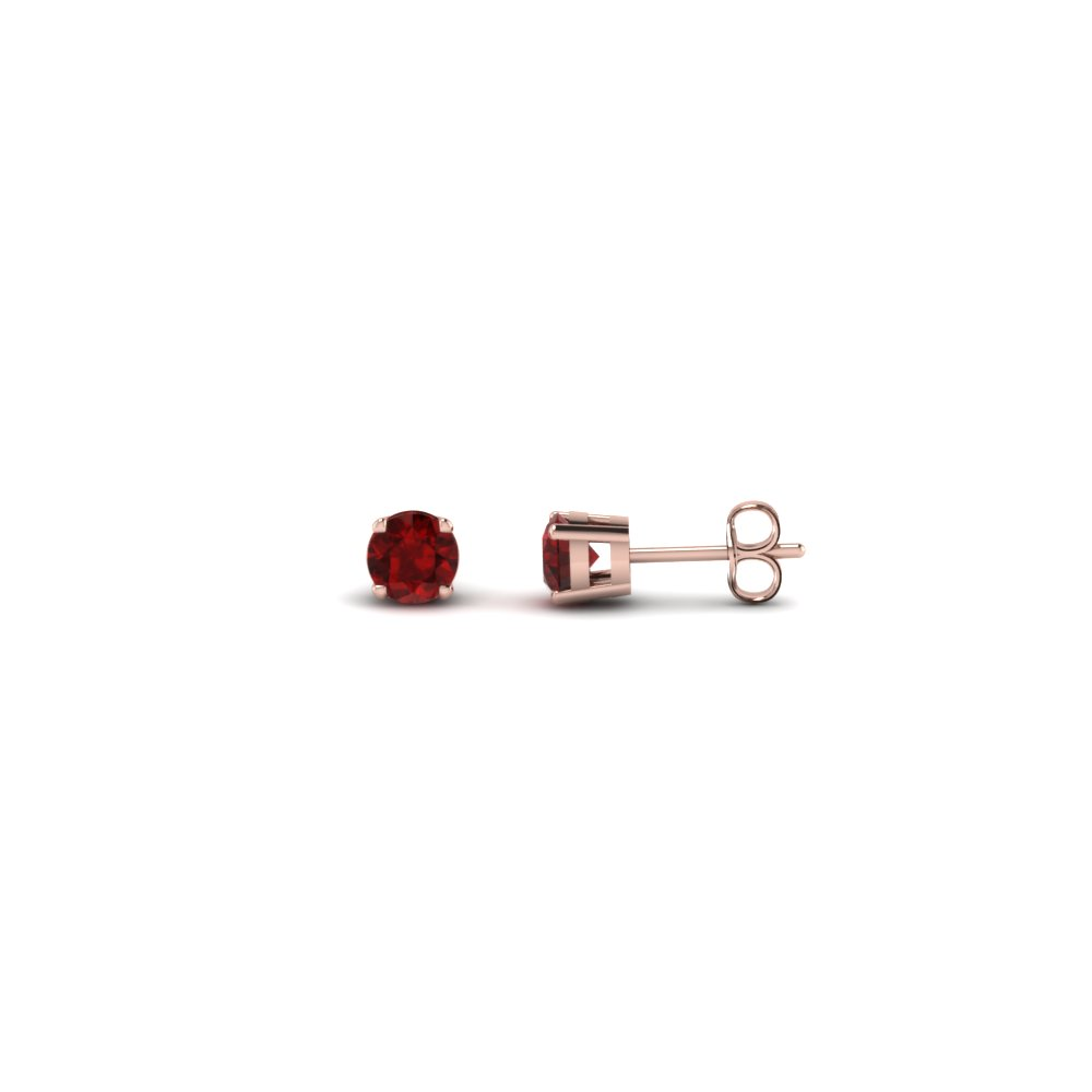 round cut handmade 0.20 carat diamond stud earring jewelry with ruby in 14K rose gold FDEAR4ROGRUDR20CT NL RG