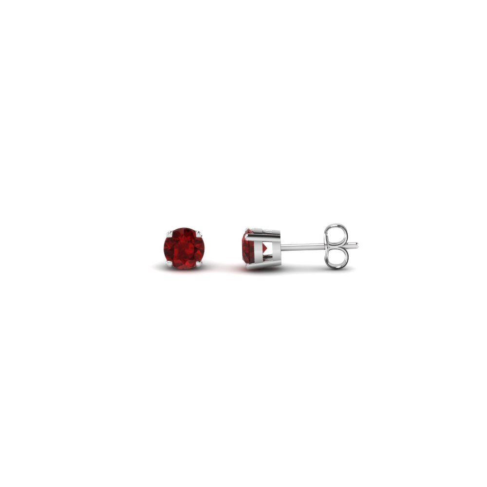 round cut handmade 0.20 carat diamond stud earring jewelry with ruby in sterling silver FDEAR4ROGRUDR20CT NL WG