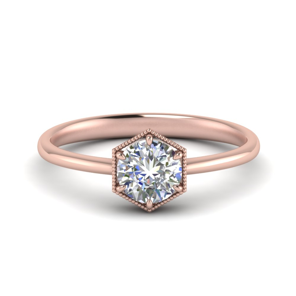 Hexagon Solitaire Diamond Ring