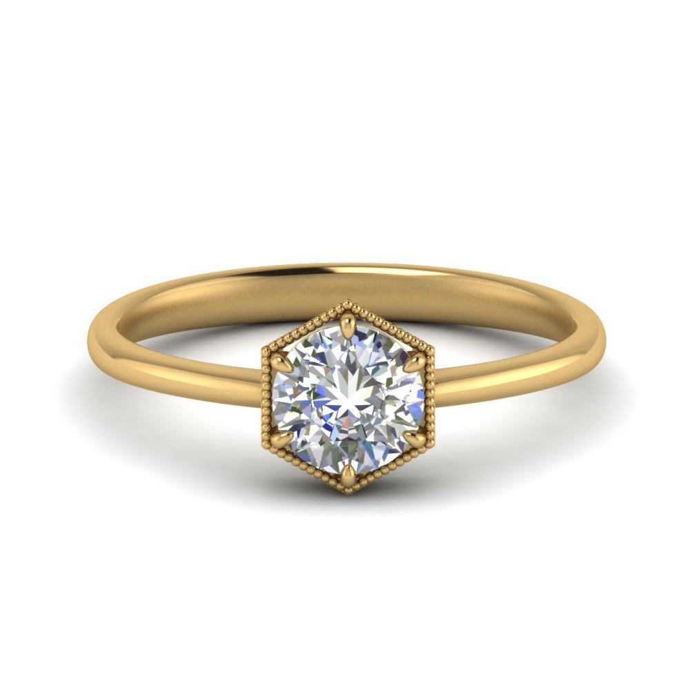 Art Deco Hexagon Solitaire Ring