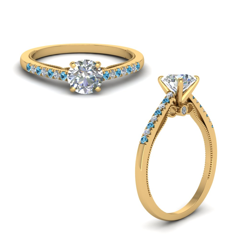 round cut high set milgrain diamond engagement ring with blue topaz in FDO50845RORGICBLTOANGLE1 NL YG