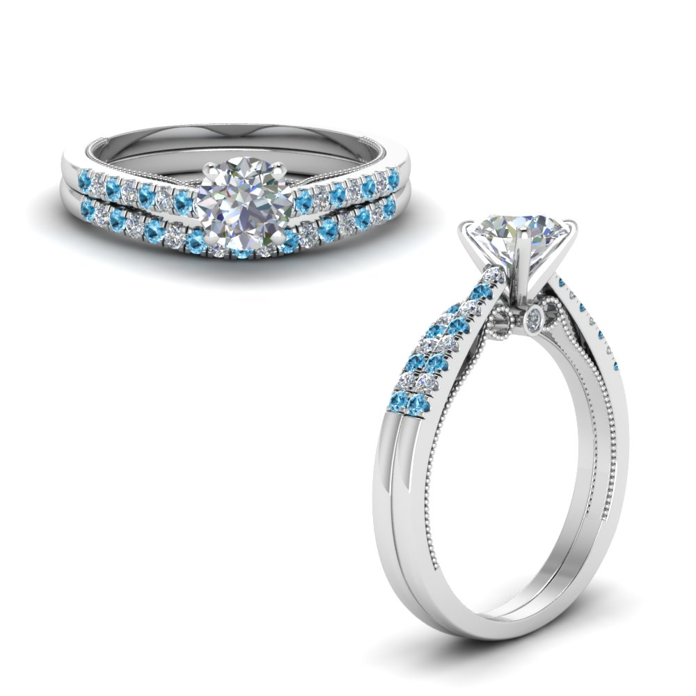 round cut high set milgrain diamond wedding ring set with blue topaz in FDO50845ROGICBLTOANGLE1 NL WG