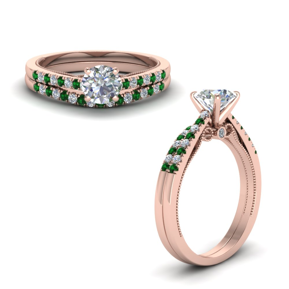 High Set Milgrain Wedding Ring Set