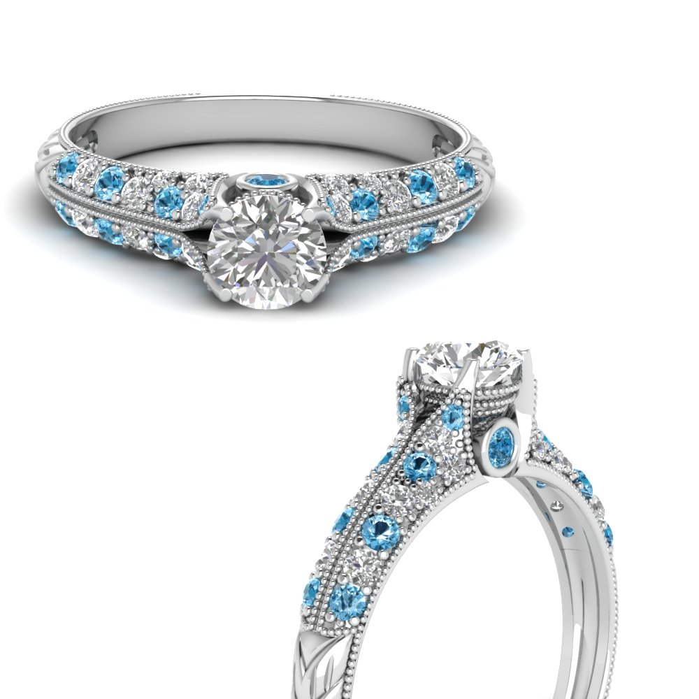 round cut high setting vintage diamond engagement ring with blue topaz in FDENR6253RORGICBLTOANGLE3 NL WG.jpg