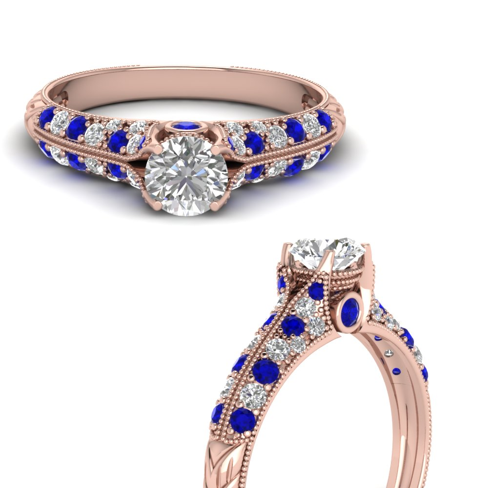 round cut high setting vintage diamond engagement ring with sapphire in FDENR6253RORGSABLANGLE3 NL RG.jpg