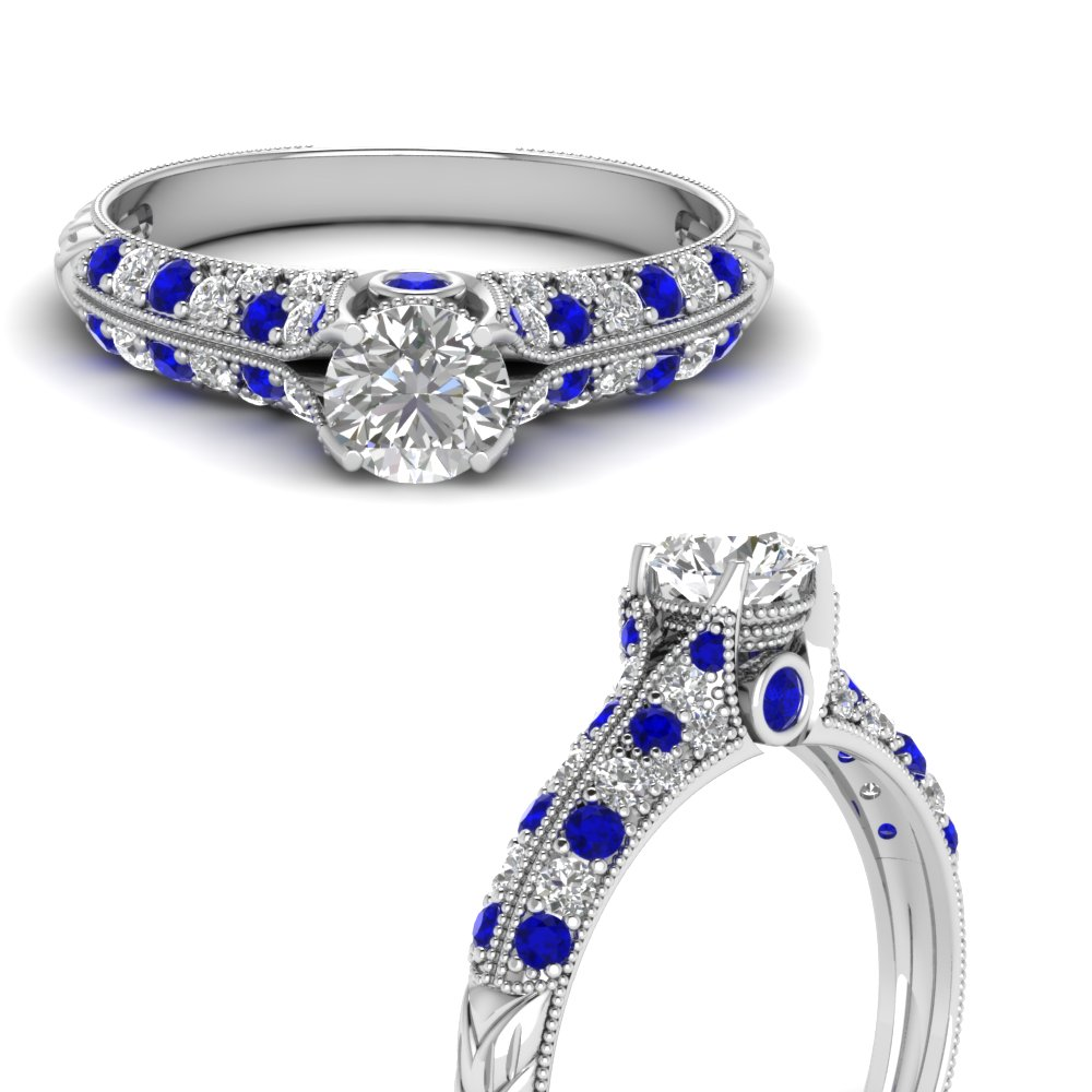 round cut high setting vintage diamond engagement ring with sapphire in FDENR6253RORGSABLANGLE3 NL WG.jpg