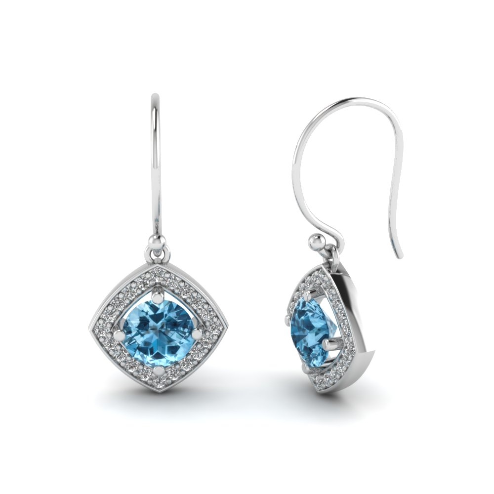 Round Cut Ice Blue Topaz Drop Earrings With
