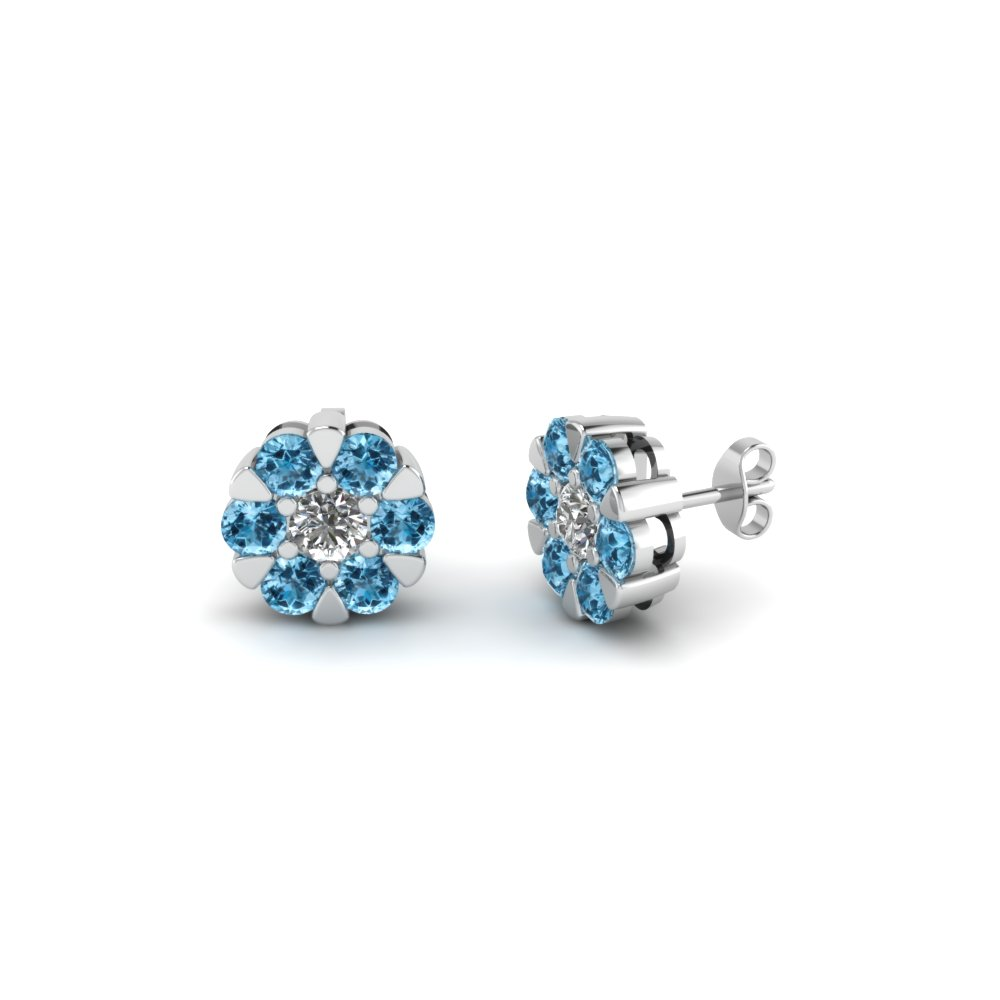 Round Diamond Flower Pattern Stud Earrings