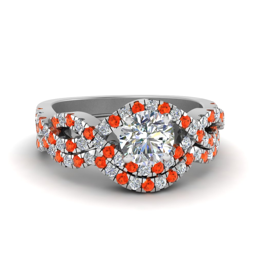 Twisted Orange Topaz Ring Set