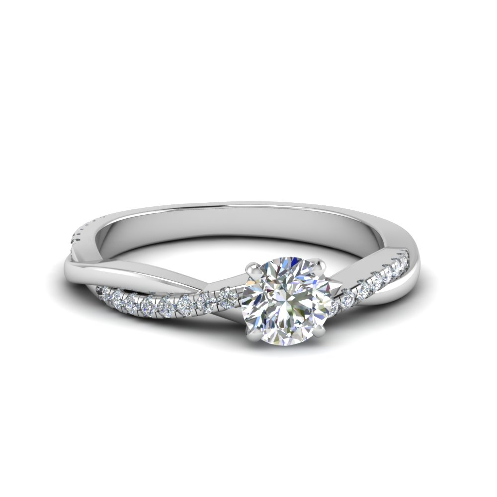 round cut infinity twist diamond engagement ring in FD8253ROR NL WG