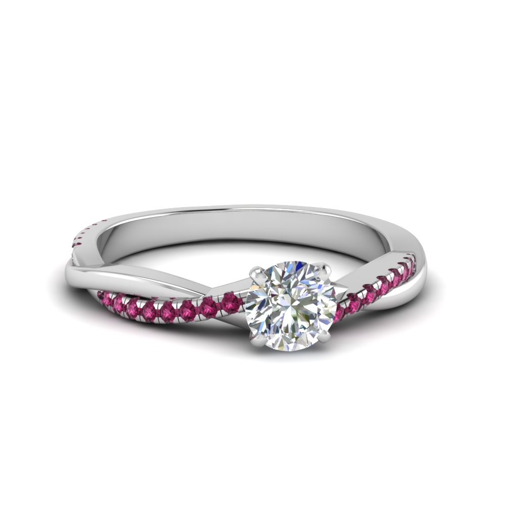 round cut infinity twist moissanite engagement ring with pink sapphire in FD8253RORGSADRPI NL WG