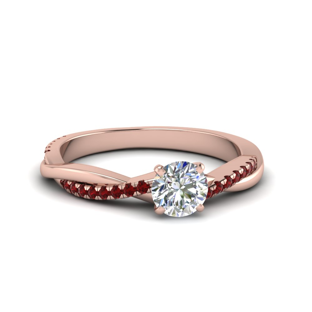 Round Cut Infinity Twist Diamond Engagement Ring With Ruby In 14K Rose Gold