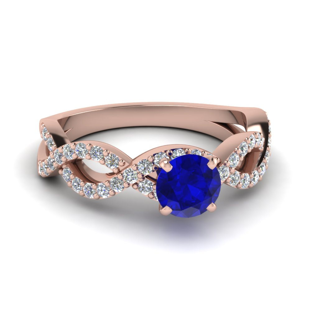 Round Cut Intertwined Colored Blue Sapphire Engagement Ring For Women On  Sale In 14k Rose Gold