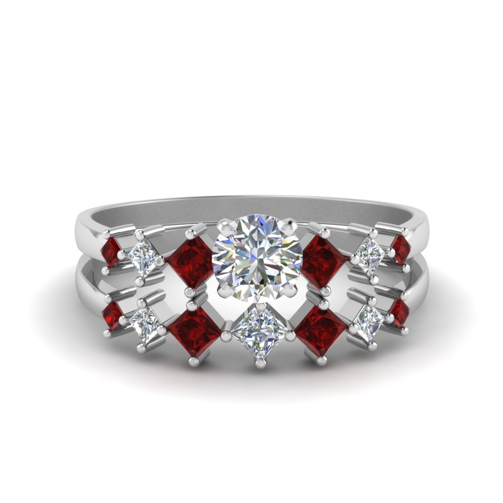 round cut kite set diamond bridal set with ruby in 14K white gold FDENS3126ROGRUDR NL WG
