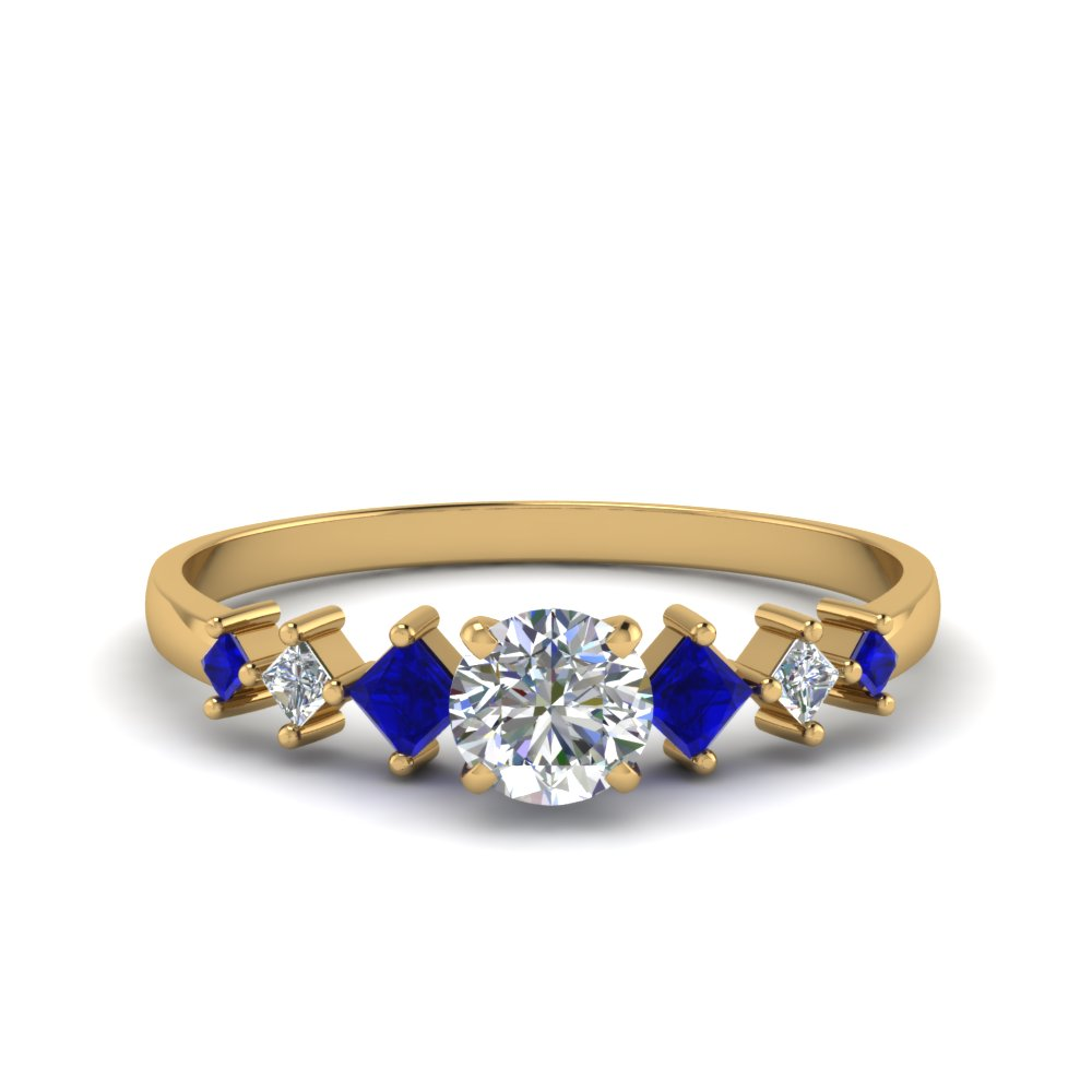 round cut kite set diamond ring with blue sapphire in 14K yellow gold FDENS3126RORGSABL NL YG