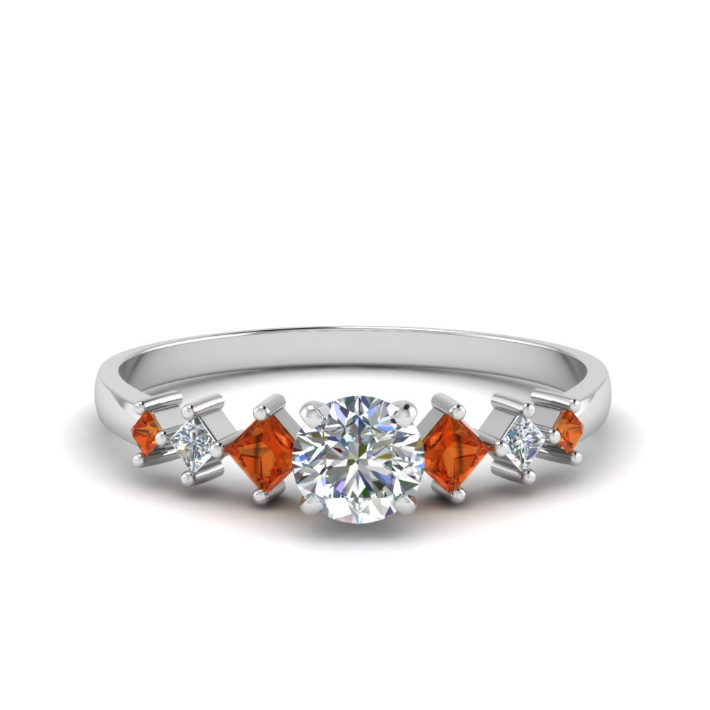 round cut kite set diamond ring with orange sapphire in 14K white gold FDENS3126RORGSAOR NL WG
