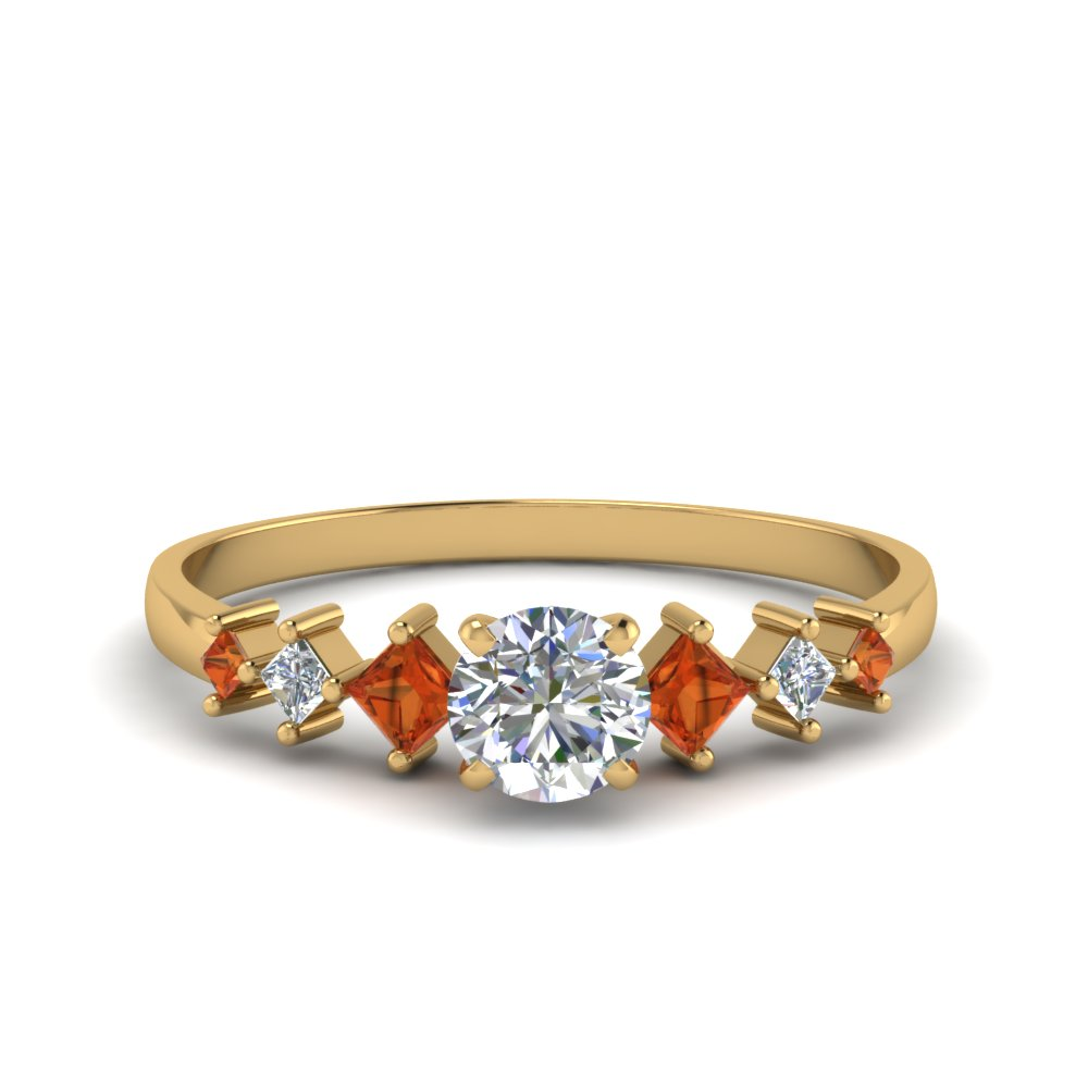 round cut kite set diamond ring with orange sapphire in 14K yellow gold FDENS3126RORGSAOR NL YG