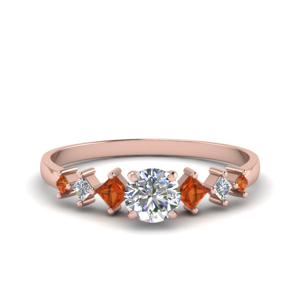 round cut kite set diamond ring with orange sapphire in 18K rose gold FDENS3126RORGSAOR NL RG