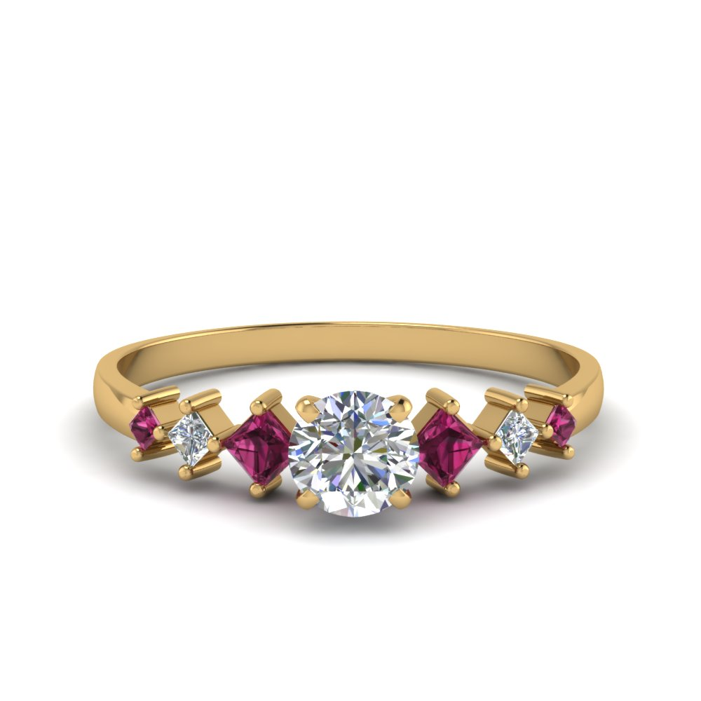 round cut kite set diamond ring with pink sapphire in 14K yellow gold FDENS3126RORGSADRPI NL YG