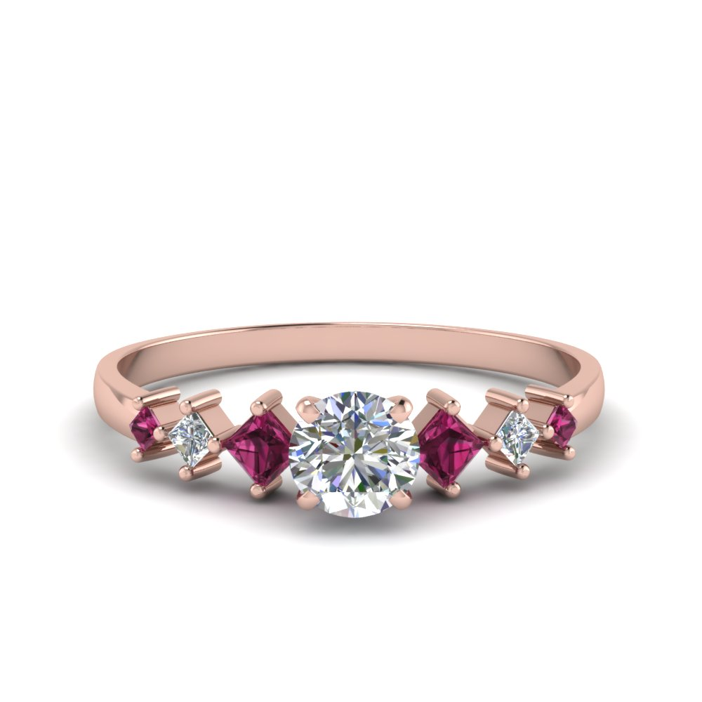 round cut kite set diamond ring with pink sapphire in 18K rose gold FDENS3126RORGSADRPI NL RG