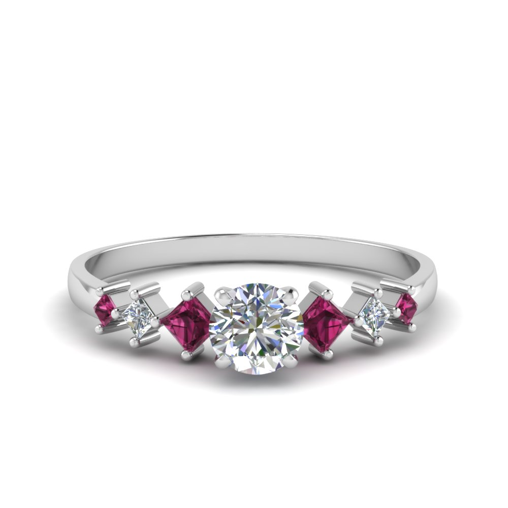 round cut kite set diamond ring with pink sapphire in 18K white gold FDENS3126RORGSADRPI NL WG