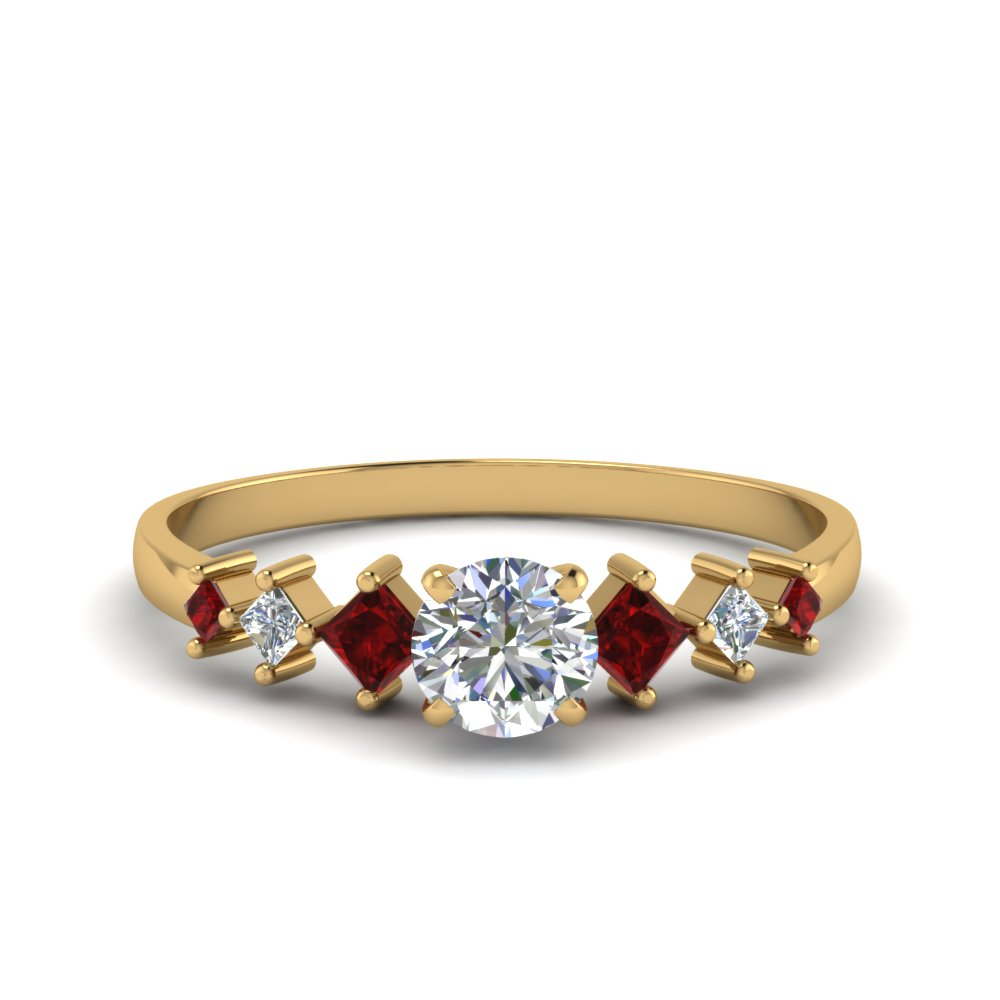 round cut kite set diamond ring with ruby in 14K yellow gold FDENS3126RORGRUDR NL YG
