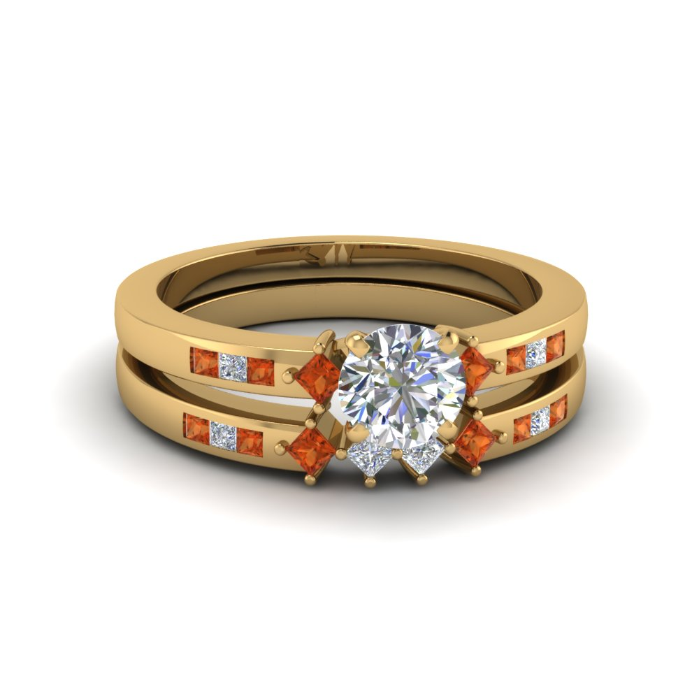 round cut kite style channel set accent diamond wedding ring set with orange sapphire in 14K yellow gold FDENS3121ROGSAOR NL YG