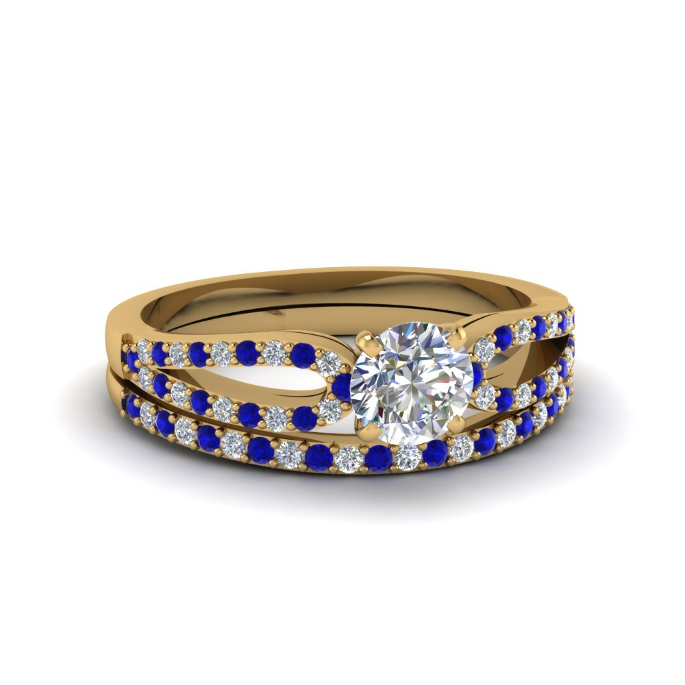 round cut loop diamond ring with sapphire matching band in 18K yellow gold FDENS3323ROGSABL NL YG