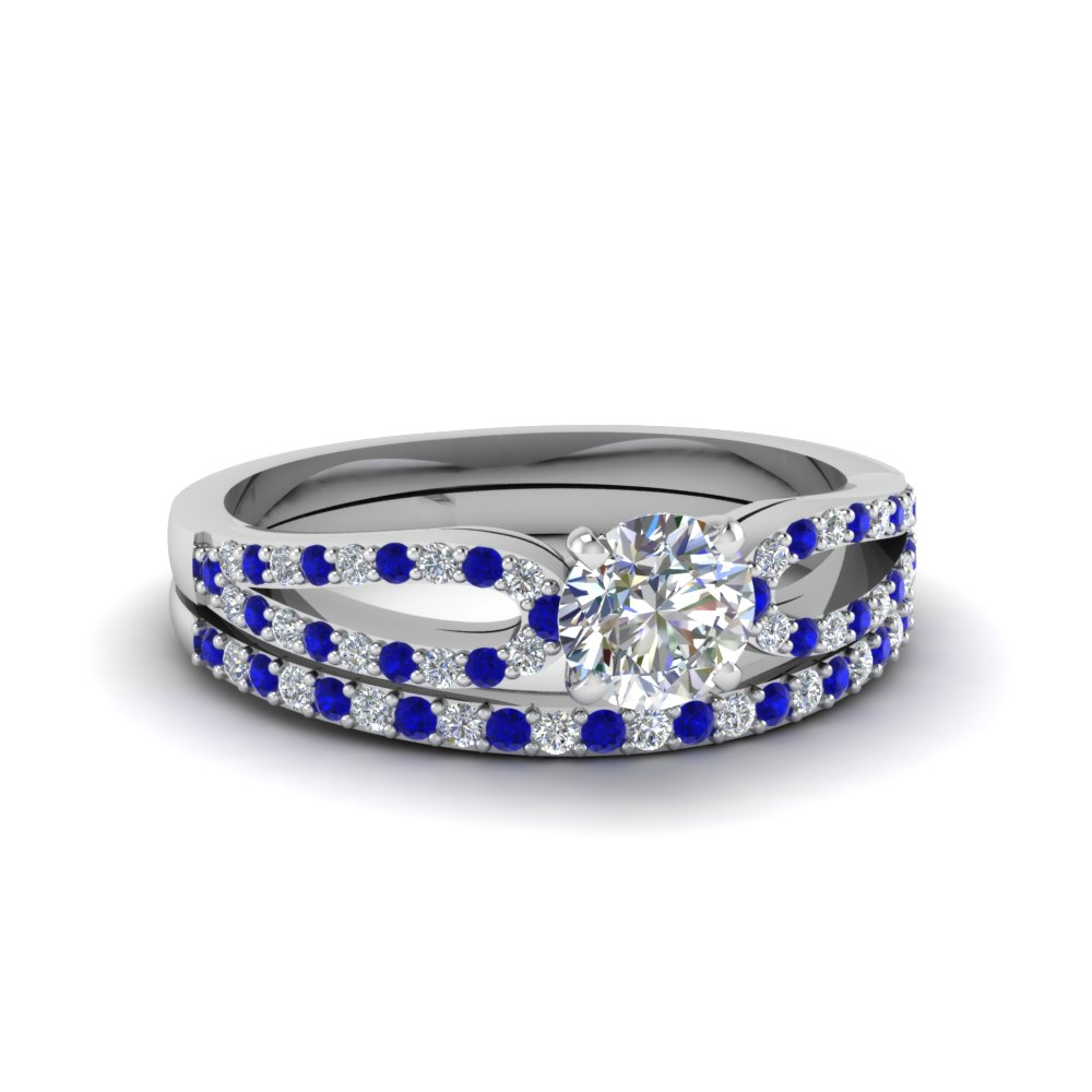 round cut loop diamond ring with sapphire matching band in 950 platinum FDENS3323ROGSABL NL WG