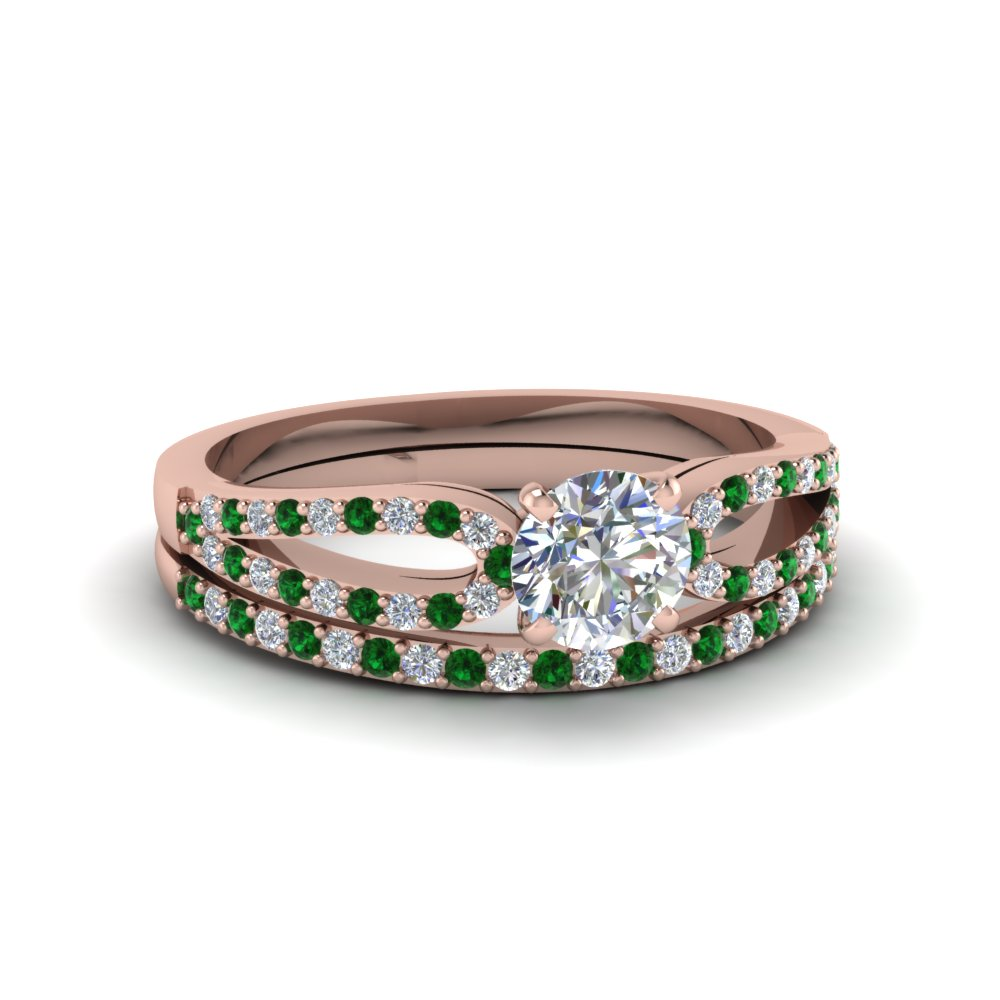 round cut loop diamond ring with emerald matching band in 18K rose gold FDENS3323ROGEMGR NL RG