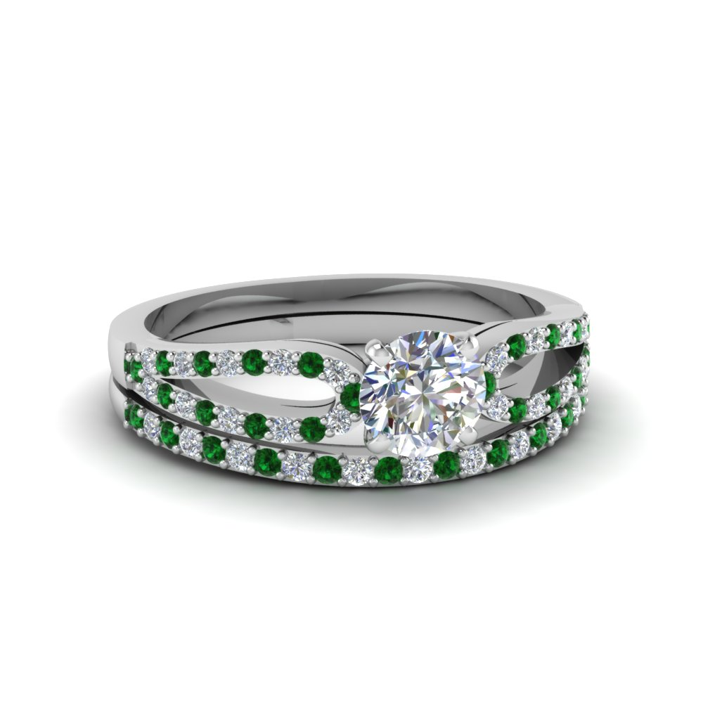 round cut loop diamond ring with emerald matching band in 18K white gold FDENS3323ROGEMGR NL WG