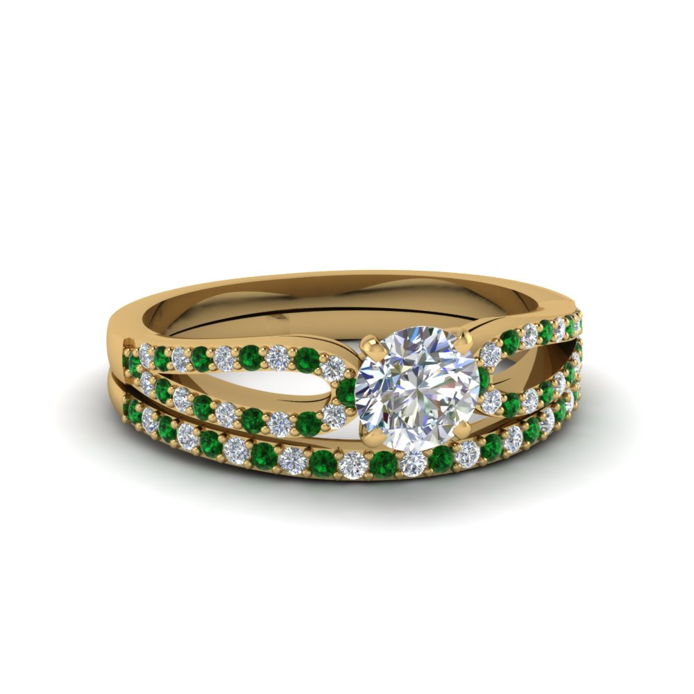 round cut loop diamond ring with emerald matching band in 18K yellow gold FDENS3323ROGEMGR NL YG