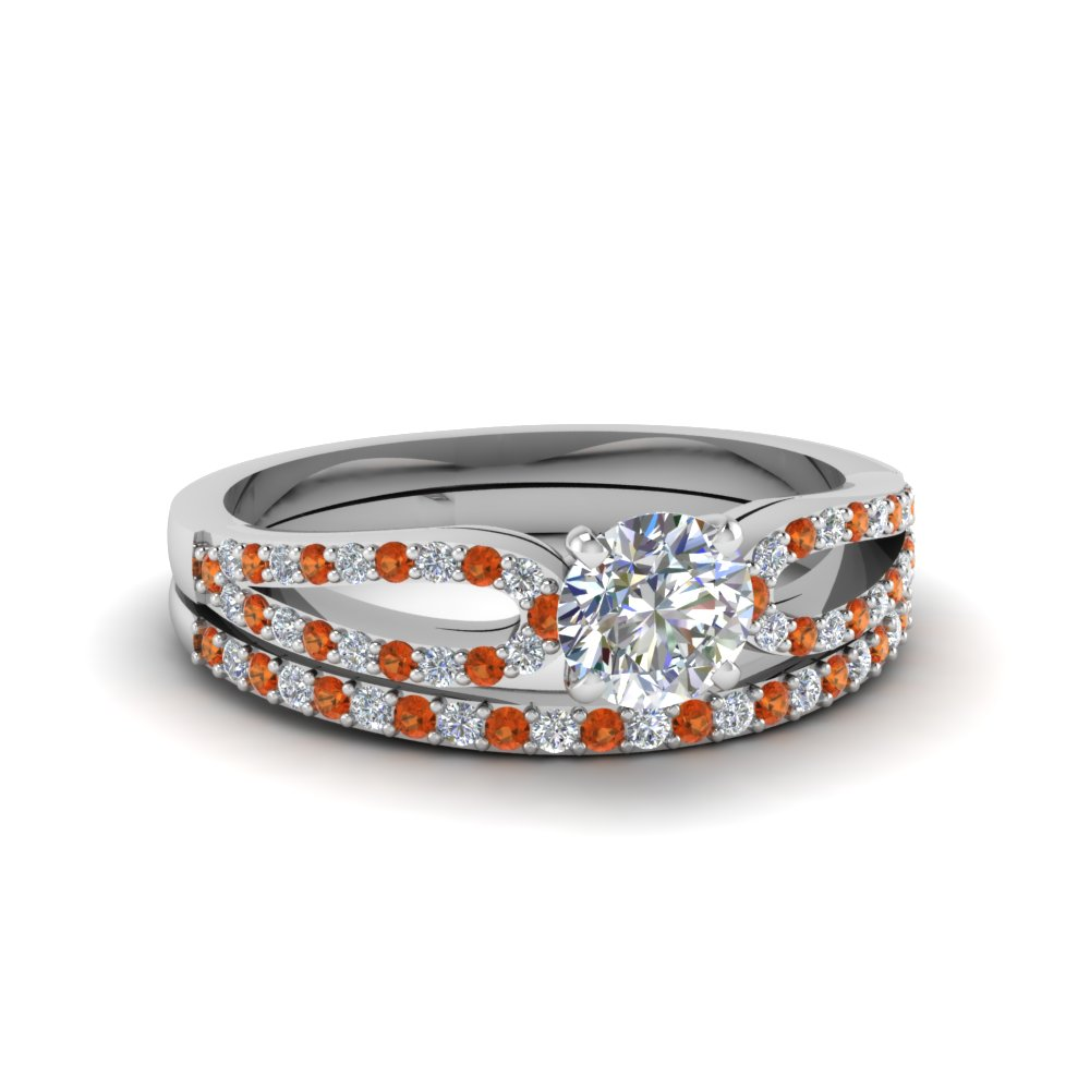 round cut loop diamond ring with orange sapphire matching band in 14K white gold FDENS3323ROGSAOR NL WG