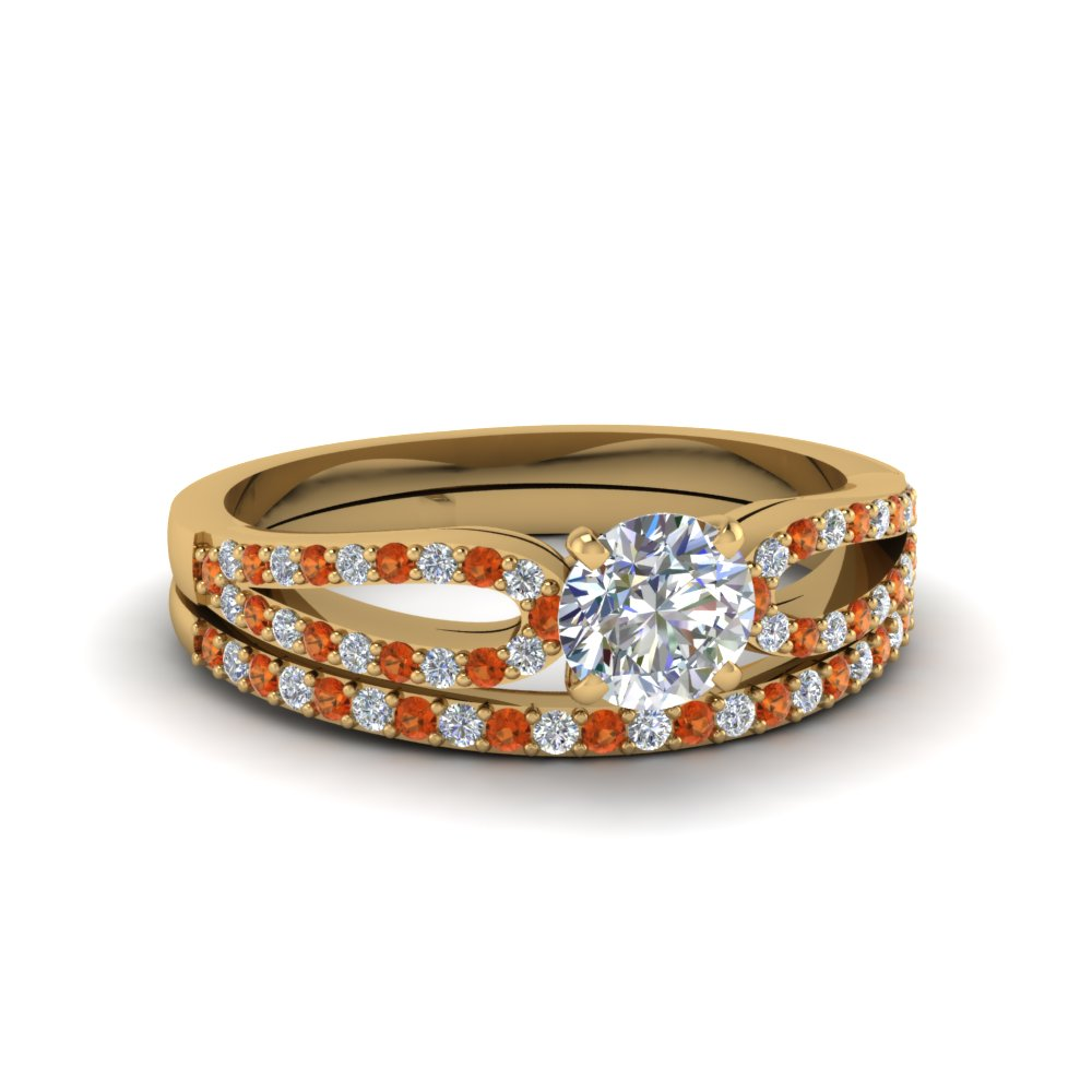 round cut loop diamond ring with orange sapphire matching band in 18K yellow gold FDENS3323ROGSAOR NL YG