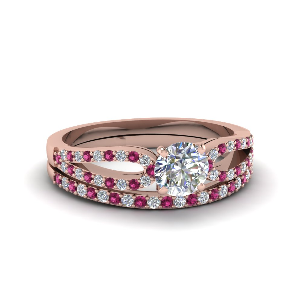 round cut loop diamond ring with pink sapphire matching band in 14K rose gold FDENS3323ROGSADRPI NL RG