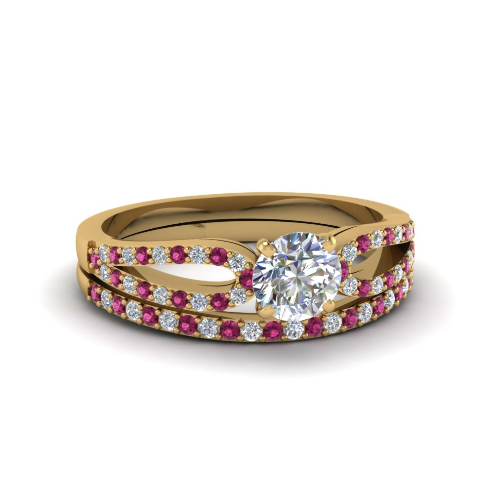 round cut loop diamond ring with pink sapphire matching band in 18K yellow gold FDENS3323ROGSADRPI NL YG