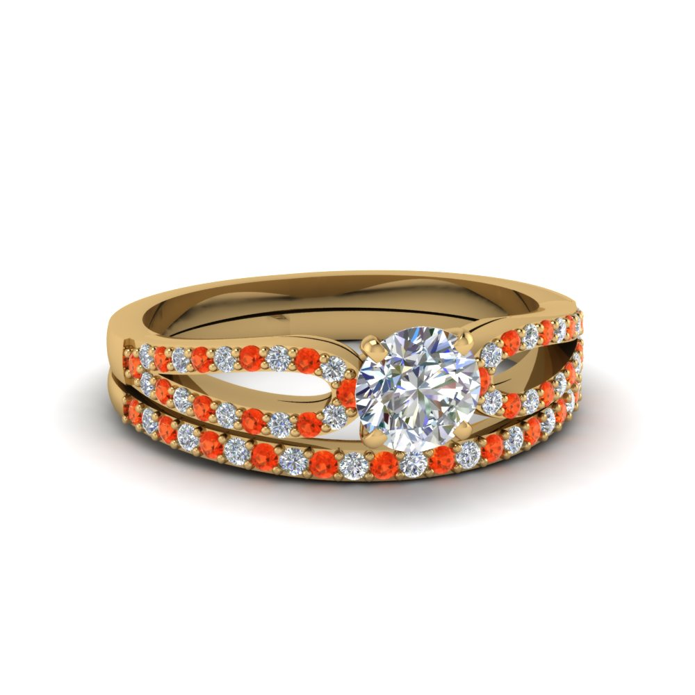 round cut loop diamond ring with orange topaz matching band in 18K yellow gold FDENS3323ROGPOTO NL YG