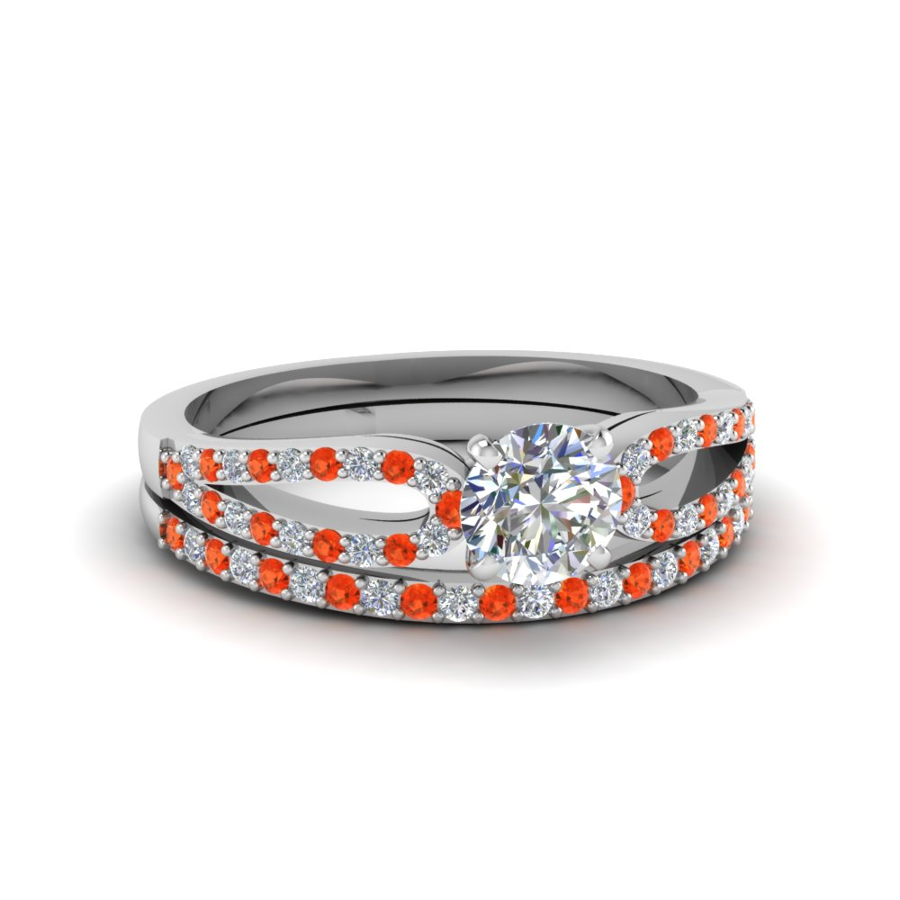 round cut loop diamond ring with orange topaz matching band in 950 platinum FDENS3323ROGPOTO NL WG
