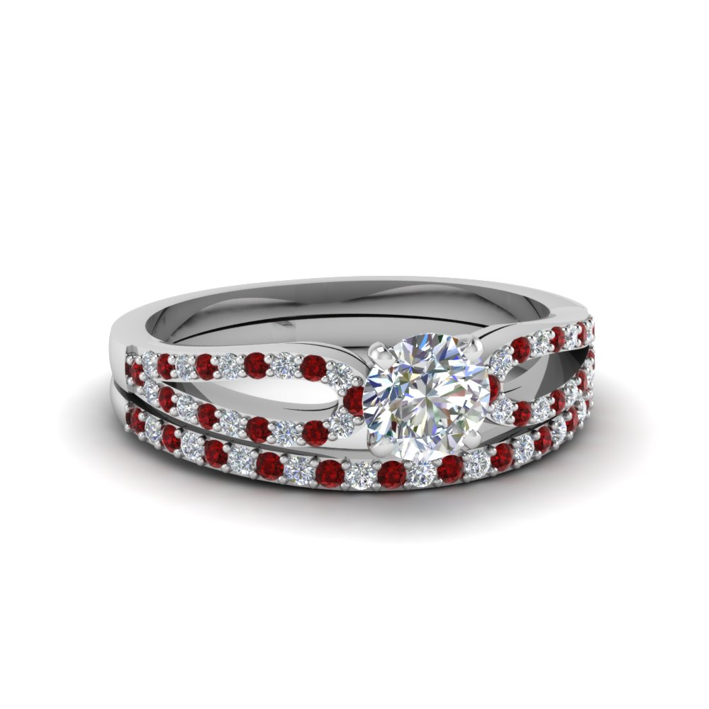 round cut loop diamond ring with ruby matching band in 18K white gold FDENS3323ROGRUDR NL WG