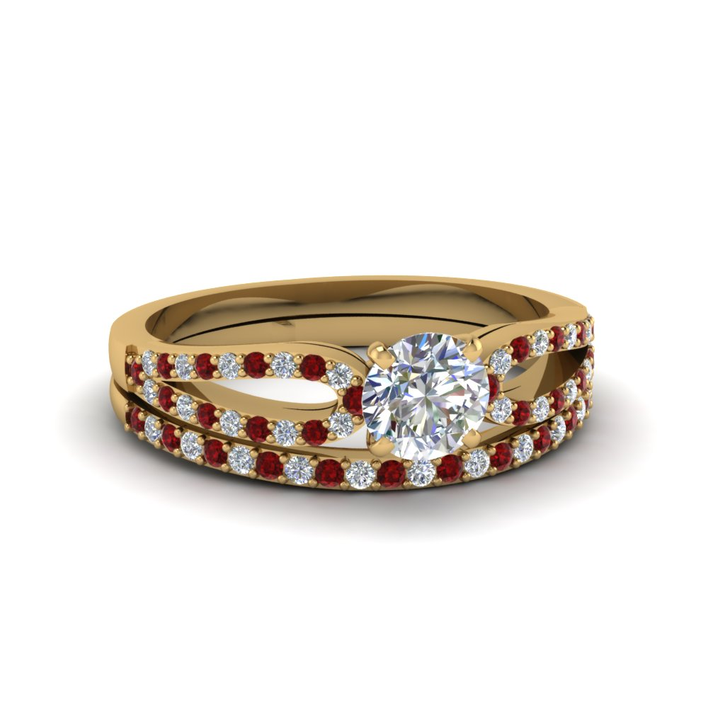 round cut loop diamond ring with ruby matching band in 18K yellow gold FDENS3323ROGRUDR NL YG