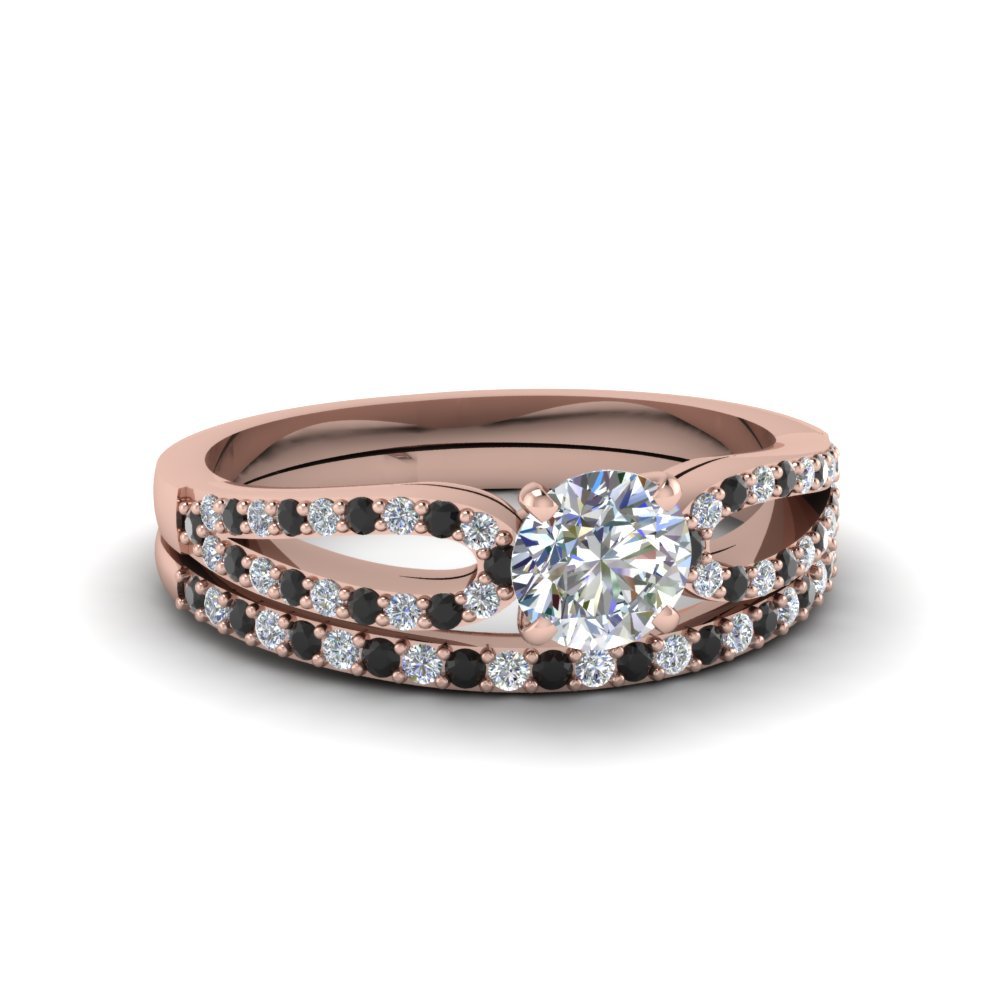 round cut loop ring with black diamond matching band in 14K rose gold FDENS3323ROGBLACK NL RG