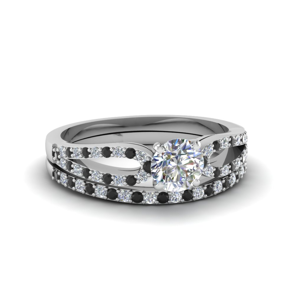 round cut loop ring with black diamond matching band in 18K white gold FDENS3323ROGBLACK NL WG